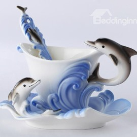 Creative Ceramic Dolphin Pattern Enamel Porcelain Coffee Cup Set