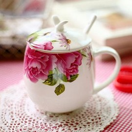 New Arrival Beautiful Peony Flower Simple Design Coffee Cup Sets