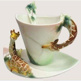 New Arrival Cute Giraffe Style Enamel Porcelain Coffee Cup Sets