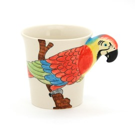 New Arrival Hand-painted 3D Ceramic Parrot Creative Mug