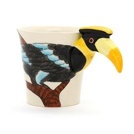 New Arrival Pretty Hand-painted 3D Ceramic Yellow-billed Hornbill Creative Mug