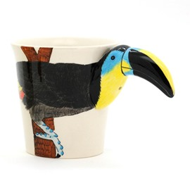 New Arrival Beautiful Hand-painted 3D Ceramic Hornbill Creative Mug