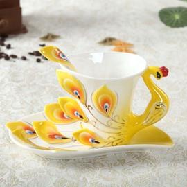 Elegant Peacock Porcelain Enamel Coffee Cup Sets