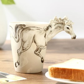 Stunning Creative White Horse Design Ceramic Hand Painting Cup