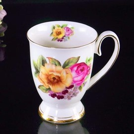 Top Classic Bone China Blossoming Flowers Creative Mug
