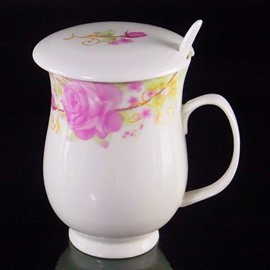 Graceful Roses with Spoon and Lid Coffee Mug