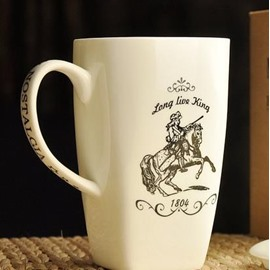 Simple Pattern Knight Bone China Coffee Mug