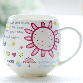 Pink Bone China Coffee Mug for Girls
