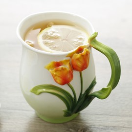 Creative Lovely 3D Tulip Ceramic Versatile Coffee Mug