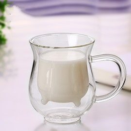 Unique Cattle Design Glass Tea Cup Milk Cup
