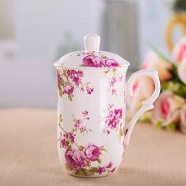 Wonderful Flowers Pattern Ceramic Coffee Mug with Lid