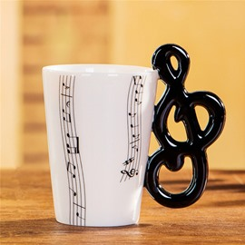 Creative Musical Note Design Handle Ceramic Coffee Mug