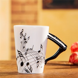 Creative Musical Theme Piano Design Handle Ceramic Coffee Mug