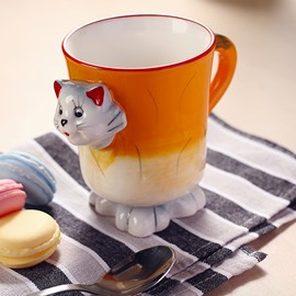 Cartoon 3D Kitten Design Ceramic Coffee Mug