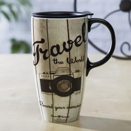 Unique Travel the World Camera Pattern Ceramic Tall Coffee Mug