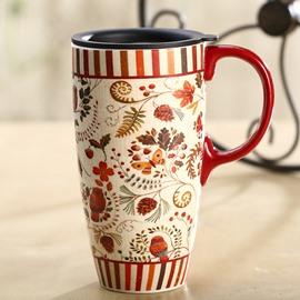 Wonderful Flowers Pattern Ceramic Tall Coffee Mug