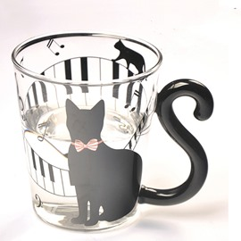 Unique Creative 3D Black Cat and Piano Keys Glass Cup