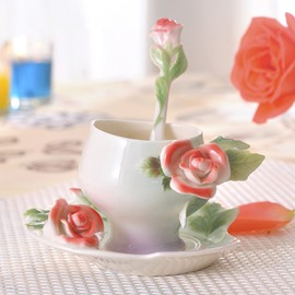 Romantic Ceramic 3D Roses Design Coffee Cup