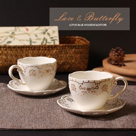 Beautiful Golden Butterfly Sculpture European Style Coffee Cups