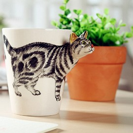 Vivid Kitty Design Ceramic Hand Painting Cup