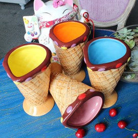 Handmade Ceramic Ice Cream Design Colorful Heat Resistant Coffee Mug