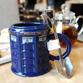 Blue Ceramic Police Box Shape Modern Style Heat Resistant Handmade Coffee Mug