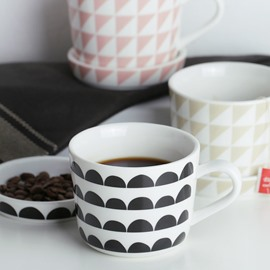 Fresh Ceramic European Style Geometric Pattern Coffee Mug