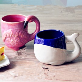 Cute Ceramic Whale and Flamingo Shape Design Coffee Mug