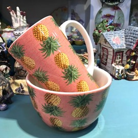 Pineapple Pattern Unique Green Orange Coffee Mug