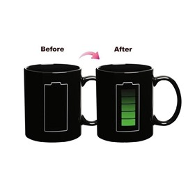 Creative and Unique Style Battery Color Change Magic Ceramics Birthday Gift Cups and Mugs