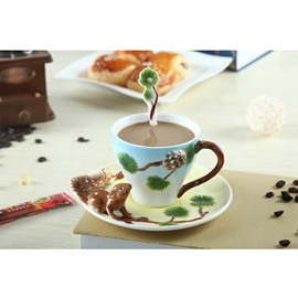 Lovely Squirrel Ceramics Coffee Milk and Tea Home and Hotel Decorative Cup Sets