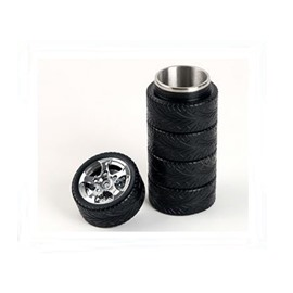 Creative and Modern Stainless Steel Black Tire Design Battery Coffee Cup