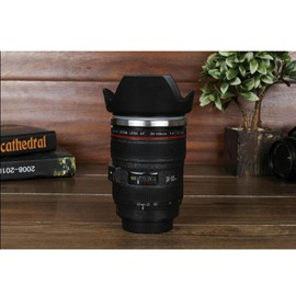 Creative and Modern Stainless Steel Black Camer Lens Design Battery mixing Coffee Cup