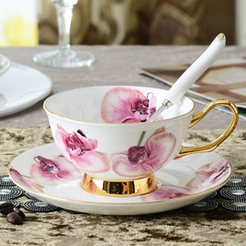 Butterfly Orchid 3 Pieces European Style Bone China Coffee Mug
