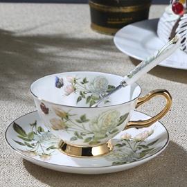 Bone China European Style White Rose Afternoon Tea Cooffe Mug