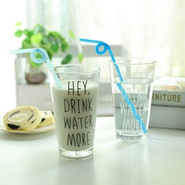 Nordic Style Glass Letters Pattern Simple Breakfast Cup