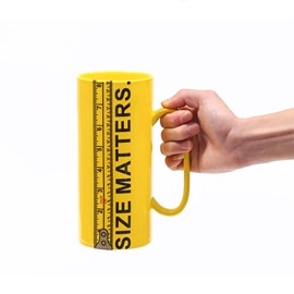 Creative Size Matters Ceramic Ruler Tall Yellow Coffee Mug
