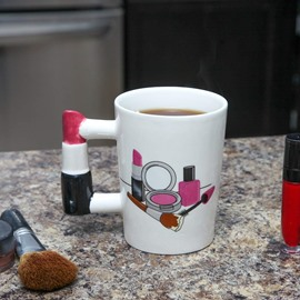 Novelty Lipstick Handle Make-up Ceramic Coffee Mug