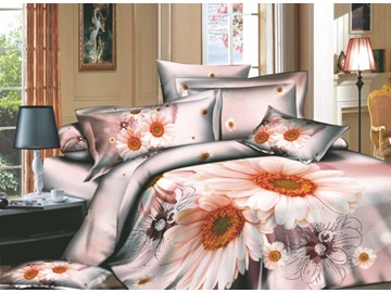 Dreamlike Pink Flowers and Wash Printed 4 Piece Cotton Duvet Cover Sets