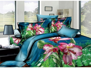 3D Red Kaffir Lily Printed Cotton 4-Piece Bedding Sets/Duvet Covers