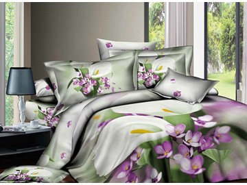 Favorable White Flowers Active Printed 4 Piece Cotton Bedding Sets