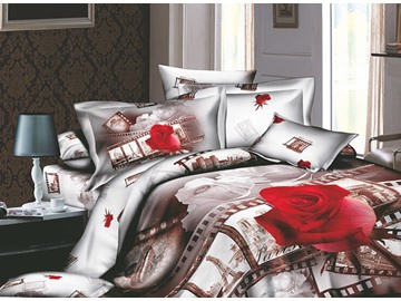 3D Red Rose and Film Printed Retro Style Cotton 4-Piece Green Bedding Sets