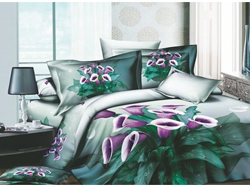 3D Purple Petunia Printed Cotton 4-Piece Queen Size Bedding Sets/Duvet Covers