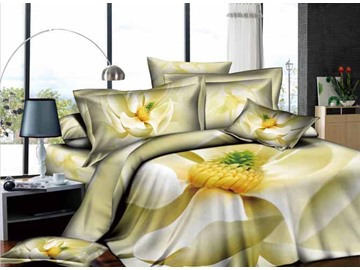 3D Beige Magnolia Printed Cotton 4-Piece Bedding Sets/Duvet Covers