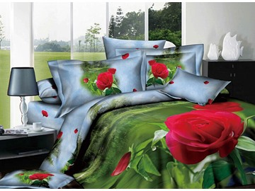 Green Printed 4 Piece 100 Percent Cotton Bedding Sets with Red Flowers