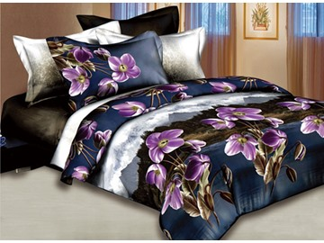 3D Purple Flower and Hillcrest Scenic Printed Cotton 4-Piece Bedding Sets