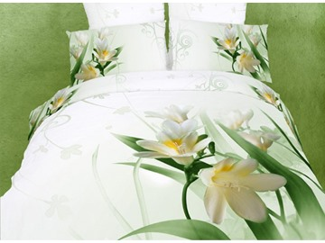 3D Madonna lily Printed Cotton 4-Piece White Bedding Sets/Duvet Covers