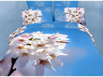 3D Nanking Cherry Printed Cotton 4-Piece Light Blue Bedding Sets/Duvet Covers