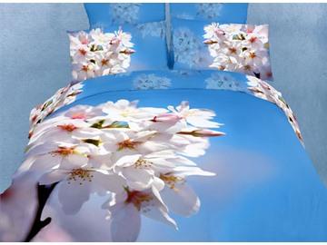 3D Nanking Cherry Printed Cotton 4-Piece Light Blue Bedding Sets/Duvet Covers