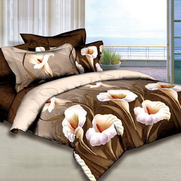 3D Calla Lily Printed Cotton 4-Piece Camel Bedding Sets/Duvet Cover